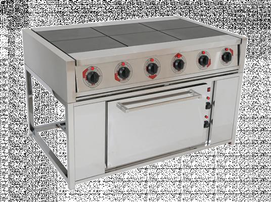 Электрическая плита шести конфорочная с жарочным шкафом